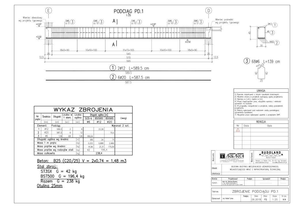 K4 - Zbrojenie podciągów PD.1-1