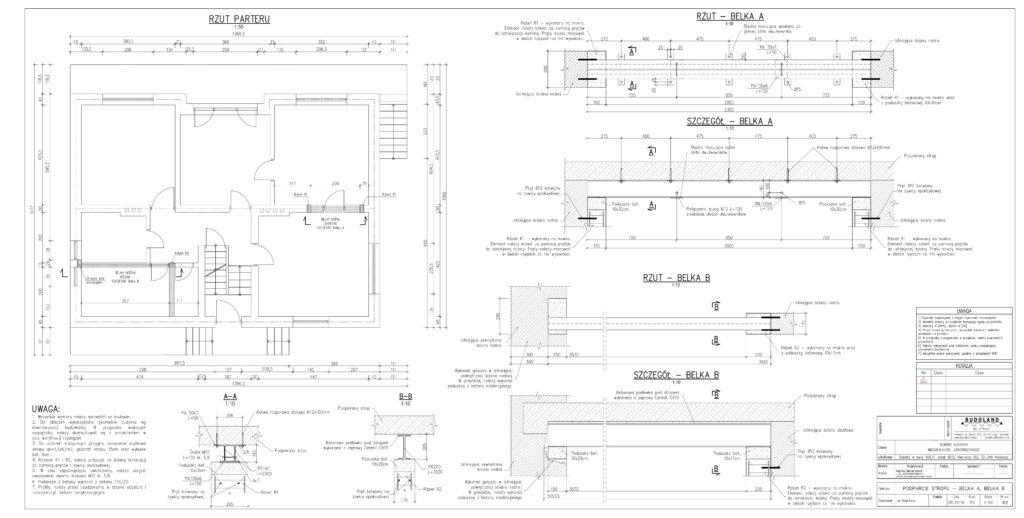 K2 - Podparcie stropu - Belka A, Belka B-1