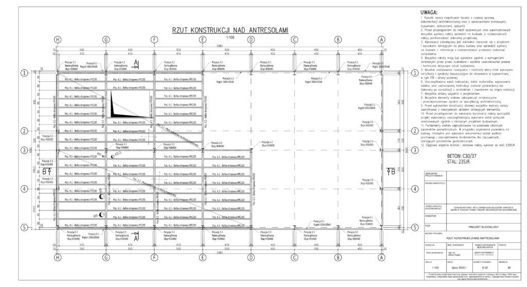 K-03 - RZUT KONSTRUKCJI NAD ANTRESOLAMI-1